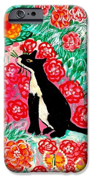 Animals Ceramics iPhone Cases - Cats and Roses iPhone Case by Sushila Burgess