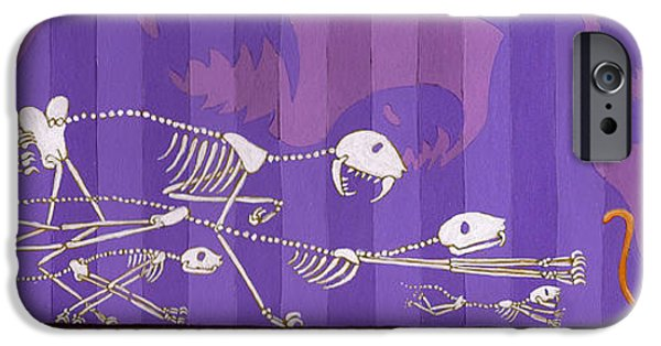 Skeleton Drawings iPhone Cases - Cats iPhone Case by Christy Beckwith