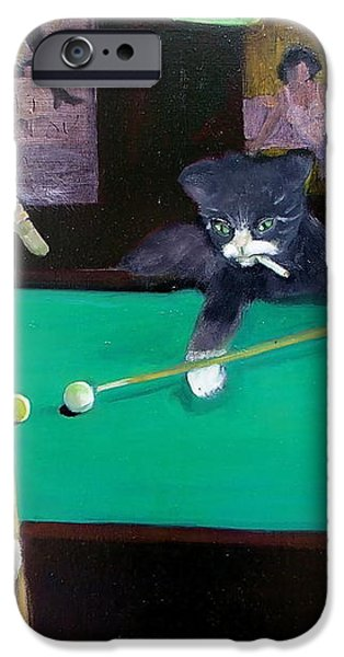Cats Playing Pool iPhone Case by Gail Eisenfeld
