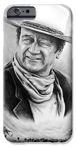 John Wayne Drawings iPhone Cases - Cattle Drive bw edit 1 iPhone Case by Andrew Read