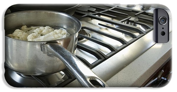 Stainless Steel iPhone Cases - Cauliflower Cooking on the Stove iPhone Case by Marlene Ford