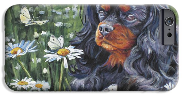 Dog And Wildflowers iPhone Cases - Cavalier King Charles in the Wildflowers iPhone Case by Lee Ann Shepard