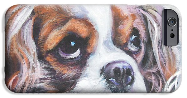 Puppies iPhone Cases - Cavalier King Charles Spaniel blenheim iPhone Case by Lee Ann Shepard