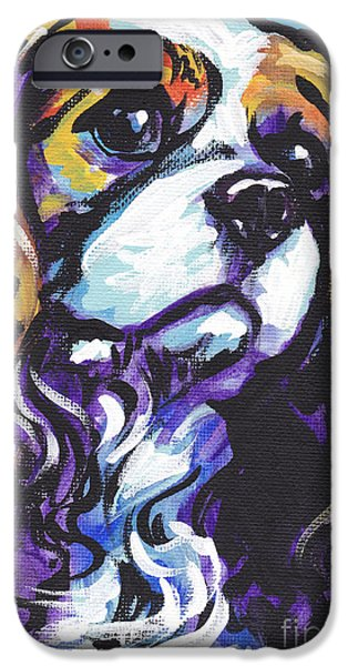 Bright Colors iPhone Cases - Cavalier King Charles Spaniel iPhone Case by Lea