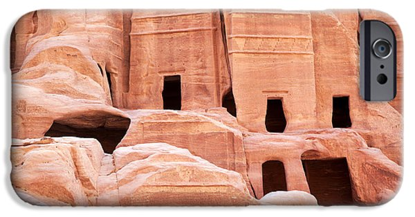 Facade iPhone Cases - Cave dwellings Petra. iPhone Case by Jane Rix