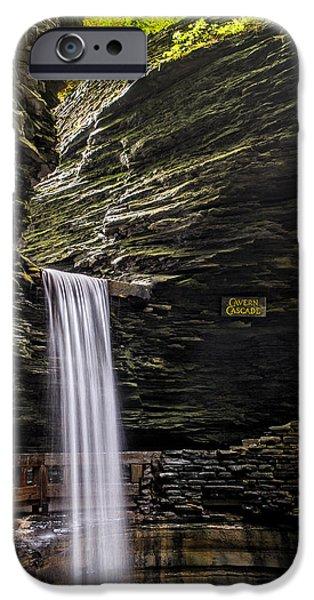 Watkins Glen iPhone Cases - Cavern Cascade iPhone Case by Mark Papke