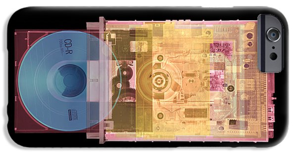 Electrical Component iPhone Cases - Cd Drive, Coloured X-ray iPhone Case by Mark Sykes
