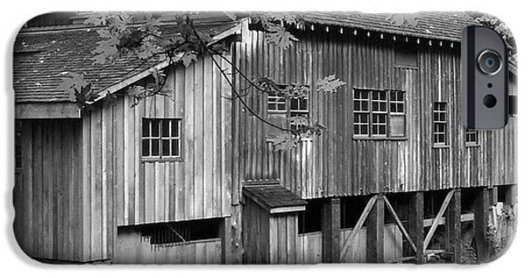 Grist Mill iPhone Cases - Cedar Creek Grist Mill BW 2 iPhone Case by Chalet Roome-Rigdon