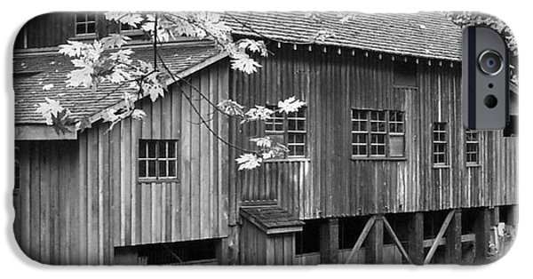 Grist Mill iPhone Cases - Cedar Creek Grist Mill BW iPhone Case by Chalet Roome-Rigdon