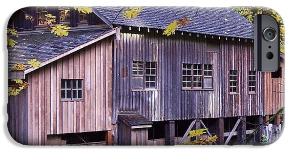 Grist Mill iPhone Cases - Cedar Creek Grist Mill in Autumn iPhone Case by Chalet Roome-Rigdon