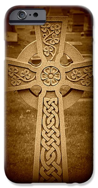 Recently Sold -  - Headstones iPhone Cases - Celtic Cross iPhone Case by Rebecca Frank