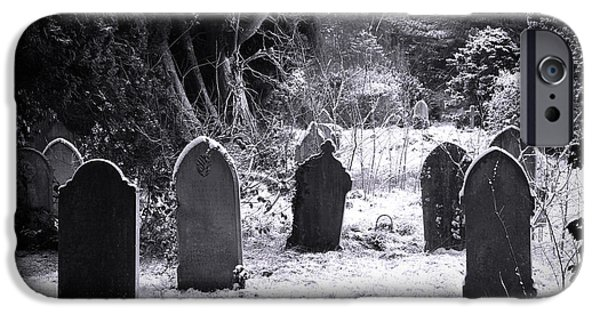 Recently Sold -  - Cemetary iPhone Cases - Cemetery and snow iPhone Case by Jane Rix