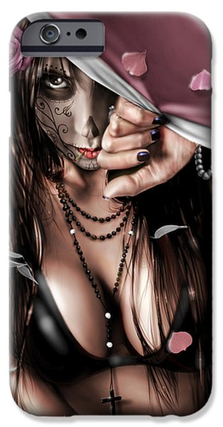 Crying Drawings iPhone Cases - Cemetery  Gates iPhone Case by Pete Tapang