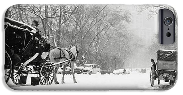 The Horse iPhone Cases - Central Park In Falling Snow iPhone Case by Axiom Photographic