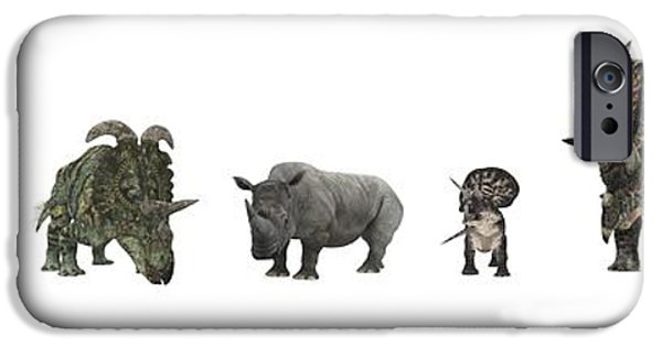 Cut-outs iPhone Cases - Cerapod Dinosaurs Compared To A Rhino iPhone Case by Walter Myers