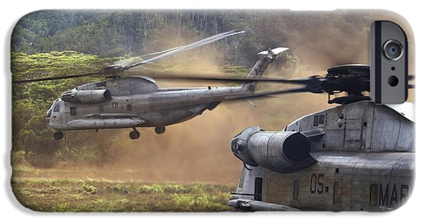 Barrack iPhone Cases - Ch-53d Sea Stallion Helicopters Lift iPhone Case by Stocktrek Images