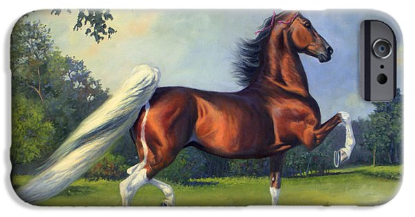 American Saddlebred iPhone Cases - CH. Racing Stripe iPhone Case by Jeanne Newton Schoborg