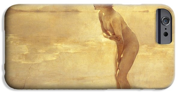 Bathing Paintings iPhone Cases - Chabas: September Morn iPhone Case by Granger
