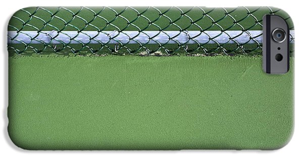 Asphalt iPhone Cases - Chain Link Fence and Tennis Court iPhone Case by Paul Edmondson