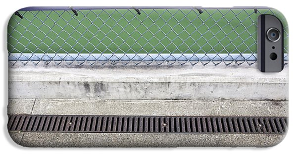 Asphalt iPhone Cases - Chain Link Fence on Tennis Courts iPhone Case by Paul Edmondson