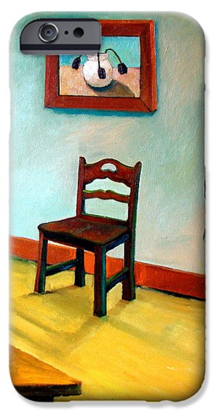 Skewed iPhone Cases - Chair and Pears Interior iPhone Case by Michelle Calkins