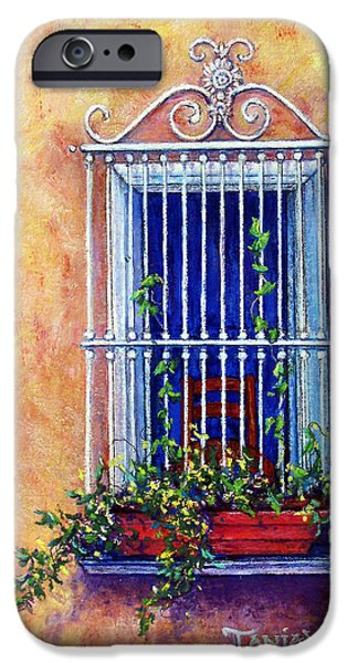 Outdoors Pastels iPhone Cases - Chair in the Window iPhone Case by Tanja Ware