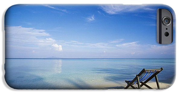 Empty Chairs iPhone Cases - Chair On Tropical Beach In Ko Phi Phi iPhone Case by Bilderbuch