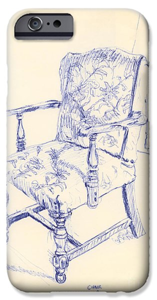 Chair Drawings iPhone Cases - Chair iPhone Case by Ron Bissett
