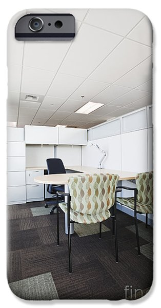 Office Space Photographs iPhone Cases - Chairs and Desk in Office Cubicle iPhone Case by Jetta Productions, Inc