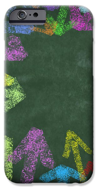 chalk drawing colorful arrows iPhone Case by Setsiri Silapasuwanchai