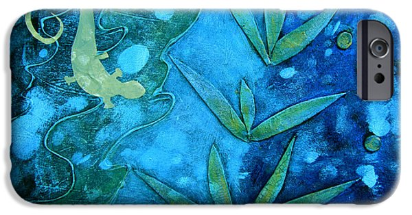 Nature Abstract iPhone Cases - Chameleon  iPhone Case by Ann Powell