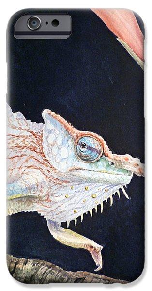 Reptile Paintings iPhone Cases - Chameleon iPhone Case by Irina Sztukowski