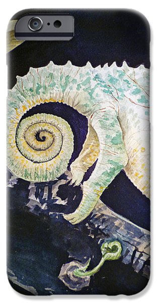 Chameleon iPhone Cases - Chameleon Tail iPhone Case by Irina Sztukowski