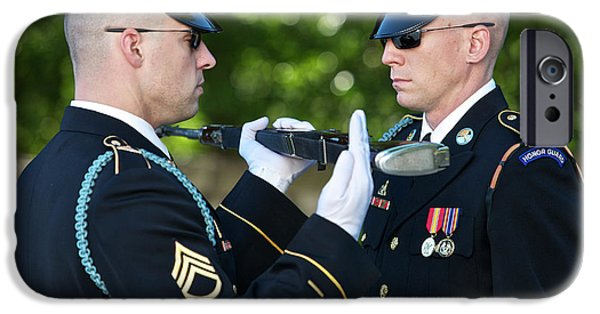 Face Recognition iPhone Cases - Changing Of Guard At Arlington National iPhone Case by Terry Moore