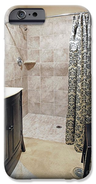 Shower Curtain iPhone Cases - Changing Room and Shower iPhone Case by Skip Nall