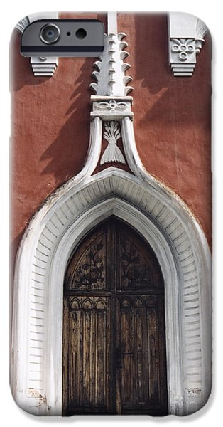 Symetry iPhone Cases - Chapel Entrance In White And Brick Red iPhone Case by Agnieszka Kubica