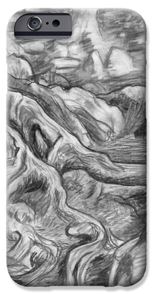 Tree Roots Drawings iPhone Cases - Charcoal drawing of gnarled pine tree roots in swampy area iPhone Case by Adam Long