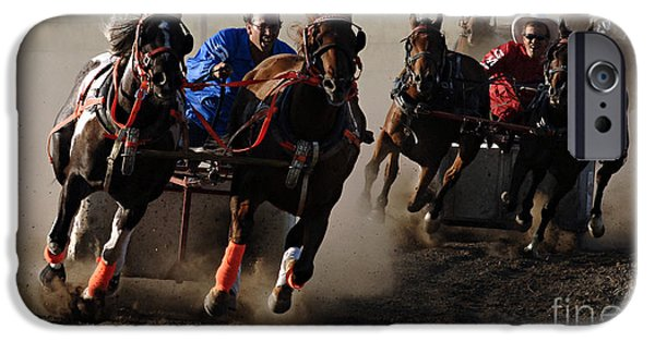 Horse Racing Photographs iPhone Cases - Rodeo Chariot Race iPhone Case by Bob Christopher