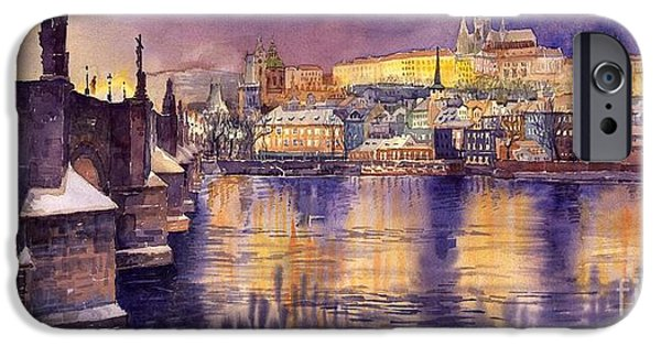 Town Paintings iPhone Cases - Charles Bridge and Prague Castle with the Vltava River iPhone Case by Yuriy  Shevchuk