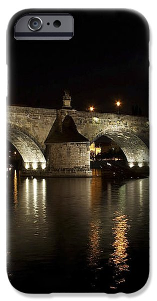 Charles bridge at night iPhone Case by Michal Boubin