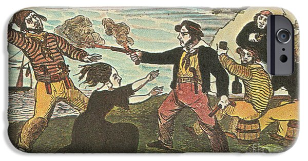 Pirate Drawing iPhone Cases - Charles Gibbs, American Pirate iPhone Case by Photo Researchers