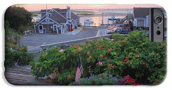 Chatham iPhone Cases - Chatham Fish Pier Summer Flowers Cape Cod iPhone Case by John Burk