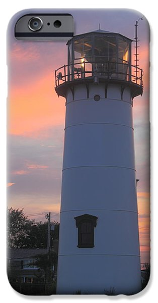 Cape Cod Lighthouses iPhone Cases - Chatham Lighthouse Tower Sunset iPhone Case by John Burk