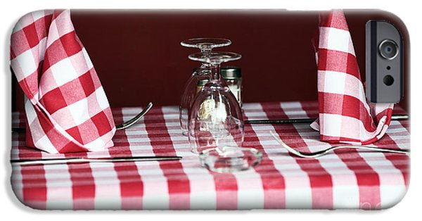Table Wine iPhone Cases - Checkered iPhone Case by John Rizzuto