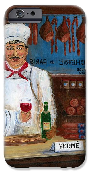 Glass Of Wine iPhone Cases - Chef at Days End iPhone Case by Marilyn Dunlap