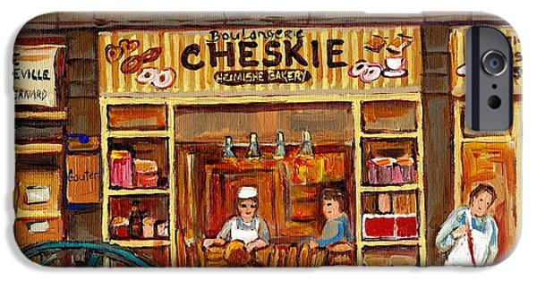 Outremont iPhone Cases - Cheskies Hamishe Bakery iPhone Case by Carole Spandau