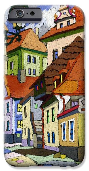 Decorativ iPhone Cases - Chesky Krumlov Masna Street 1 iPhone Case by Yuriy  Shevchuk