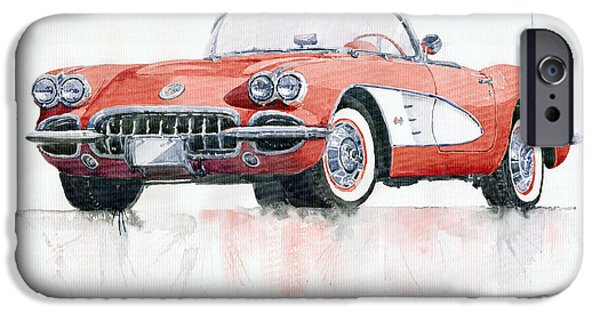 Cars iPhone Cases - Chevrolet Corvette C1 1960  iPhone Case by Yuriy  Shevchuk