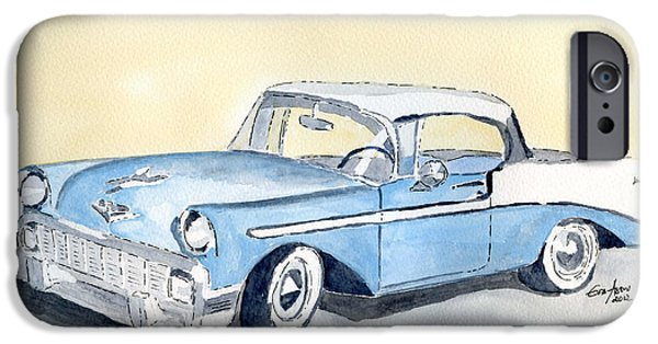 American Cars Drawings iPhone Cases - Chevy Bel Air - 56 iPhone Case by Eva Ason