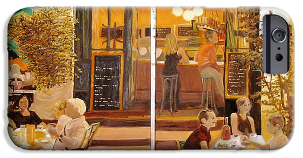 Park Scene Paintings iPhone Cases - Chez Tim One and Two iPhone Case by Julie Todd-Cundiff